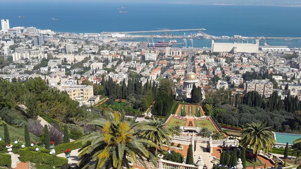 Вид на Хайфу и Бахайские сады
